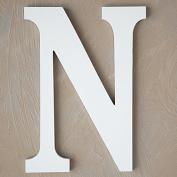 "The Lucky Clover Trading ""N"" Wood Block Letter, White"