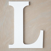 """The Lucky Clover Trading """"L"""" Wood Block Letter, White"""