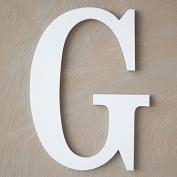 "The Lucky Clover Trading ""G"" Wood Block Letter, White"