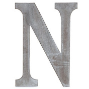 "The Lucky Clover Trading ""N"" Wood Block Letter, Charcoal Grey"