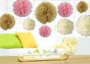 Somnr® Set of 18PCS Mixed Pink Ivory Tan Tissue Pom Poms Paper Flower Wedding Pompoms Birthday Party Bridal Shower Favour Decoration