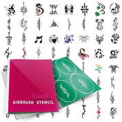 Airbrush Tattoo Stencils Book- Reuseable Tattoo Template Set(6-10)