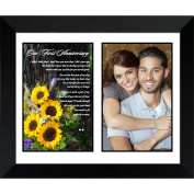 Paper First Anniversary Gift for Your Wife or Husband - Sunflower Photo with Romantic 1st Anniversary Poem - Add Your Photo to Mat in Frame