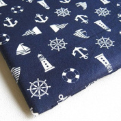 Navy Blue White Marine Ship Wheel Anchor Flag on Blue 90cm by 90cm Wide (1 Yard)