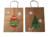 Kraft Paper Christmas Gift Bag with Christmas Tree and Ornament Applique
