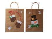 Kraft Paper Christmas Gift Bag with Snowman and Mittens Applique