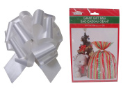 Giant Festive Christmas Gift Bag 90cm X 110cm with Big, 20cm Brilliant White Holiday Bow - Perfect Jumbo Present Wrap