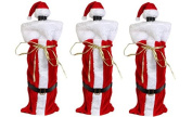 Santa Wine Bottle Gift Bags with Hat and Gift Tag