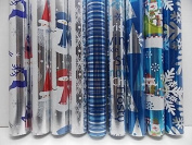 3 Rolls of Blue / Silver Metallic Gift Wrap - Paper for Wrapping Presents - Assorted Styles