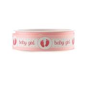 Baby Girl Baby Boy w/ Footprint Grosgrain Ribbon, 2.2cm , 3-yard