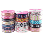 Assorted Grosgrain Printed Ribbon, 3-yard, 16 Rolls