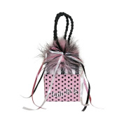 "Miniature Music Box Mini Gift Bag - Pink polka dot bag 'ooh la la' ""Claire de Lune"""