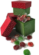 Christmas Holiday Wood Mini Gift Box & Holiday Mix Candy Bag Bundle