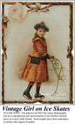 Vintage Girl in Ice Skates, Vintage Cross Stitch Pattern