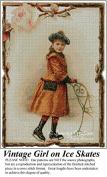 Vintage Girl in Ice Skates, Vintage Cross Stitch Pattern