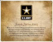 United States Army, Officially Licenced, Framed Print (36cm X 28cm ) Featuring the Army Seal and Oath on a Parchment Background. Perfect for Home or Office!