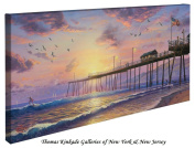 Footprints in the Sand - Thomas Kinkade 41cm x 80cm Gallery Wrapped Canvas