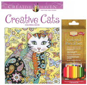 Alvin Heritage Coloured Pencil Set of 24 and Dover Creative Haven Creative Cats by Marjorie Sarnat