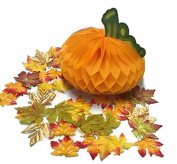 Paper Pumpkin & Decorative Fall Maple Leaves - Thanksgiving Table Centrepiece
