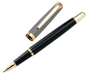 Aeropen International CA-5001RG Rollerball Pen with Satin Chrome-Black Lacquer Lower Barrel