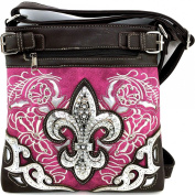 Rhinestone Fleur De Lis Messenger Bag Cross Body Purse Concealed Gun Pocket
