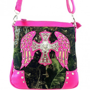 Western Rhinestone Cross w/ Angel Wings Camo Cross Body Purse Messenger Bag
