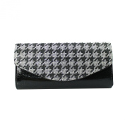 Houndstooth Evening Clutch Rhinestones, Black and White