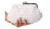 Ginsio Women's Pearl Flower Clutch Purse Elegant luxury Evening Bags