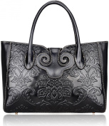 Pijushi Classic Ladies Embossed Floral Leather Tote Handle Shoulder Handbags