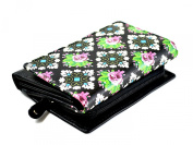Sanmarc Genuine Leather Printed Ladies Wallet Small Black