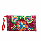 DZT1968® Women's Embroidered Cloth Long Card Holder Handbag Phone Wallet With Strap