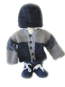 KSS Handmade Dark Night Colour Sweater/Cardigan Set