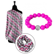 Itzy Ritzy Nursing Happens Pink Kiss/Chevron and Teething Happens Bundle -Pink Bead Bracelet