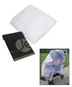 JAVOedg White Mosquito Net Full Bug Cover for Stroller with Bonus Drawstring Storage Bag