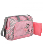 "Tender Kisses ""Zebra Baby"" Nappy Duffle Bag with Changing Pad - grey/pink, one size"