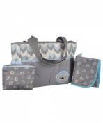 "Tender Kisses ""Zigzag Monkey"" Nappy Tote with Dirty Duds Pouch & Changing Pad - grey/blue, one size"