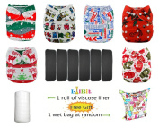 Lilbit 2015 Christmas Prints 6 Pcs Pack Reusable Washable Pocket Baby Cloth Nappies
