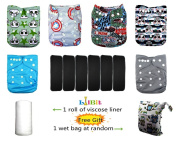 Lilbit Halloween Skull 6 Pcs Bamboo Charcoal Inserts and 6 Pcs Baby Cloth Nappy Covers