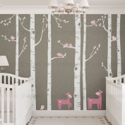 """Birch Tree with Bird and Deer Wall Decals - scheme C - 96"""" (243 cm)Tall Trees - by Simple Shapes ®"""