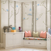 """Birch Tree with Birds Wall Decal - scheme B - 108"""" (274 cm) Tall Trees - by Simple Shapes ®"""