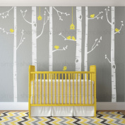 """Birch Tree with Birds Wall Decal - scheme C - 96"""" (243 cm)Tall Trees - by Simple Shapes ®"""