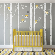 """Birch Tree with Owl Wall Decal - scheme A - 96"""" (243 cm)Tall Trees - by Simple Shapes ®"""