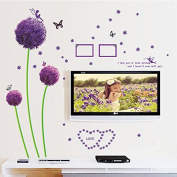 Wall Stickers Dandelion Butterfly Photo Frame Creative Removable PVC Wallpaper Wall Art Decor For Living Room Bedroom Chicken Kids Bedroom Windows 23.6*90cm