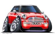 Micro Cars Mini CooperCartoon Car Art Large 1.2m long Wall Graphic Decal Sticker Man Cave Garage Decor Boys Room Decor
