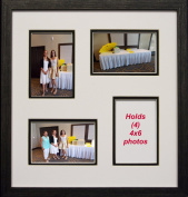 Collage Photo Frame 4-opening 4x6 Black and White Wood Picture Frame