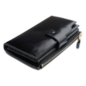 Dopobo® Women Leather Wallet - Large Capacity Luxury Oil Wax Leather Long Wallet Money Organiser with Multi Card Slots, ID Window and Zipper Pocket