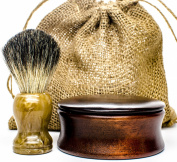 Shaving Kit for Men with Wood Shaving Bowl, Badger Brush and Organic Shaving Soap - Organic Shaving Kit - Shaving Soap Kit - Shaving Soap with Bowl - Badger Shaving Kit