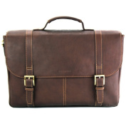 Heritage Travelware 827691 Brown Colombian Leather Dual Compartment Flap Over Portfolio & Computer Case