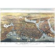 Universal Map 16197 Boston 1873 Historical Print Mounted Wall Map