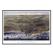 Universal Map 16214 Chicago 1874 Historical Print Mounted Framed Wall Map FrameColor - Black